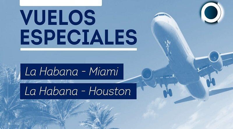 Vuelos especiales desde La Habana a Miami y Houston