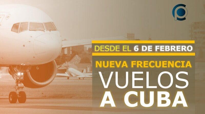 Nueva frecuencia de los vuelos a Cuba