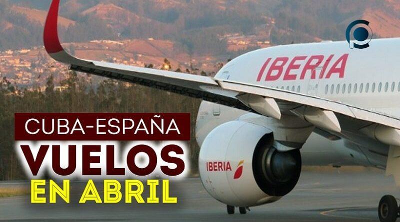 Vuelos entre España y Cuba en abril