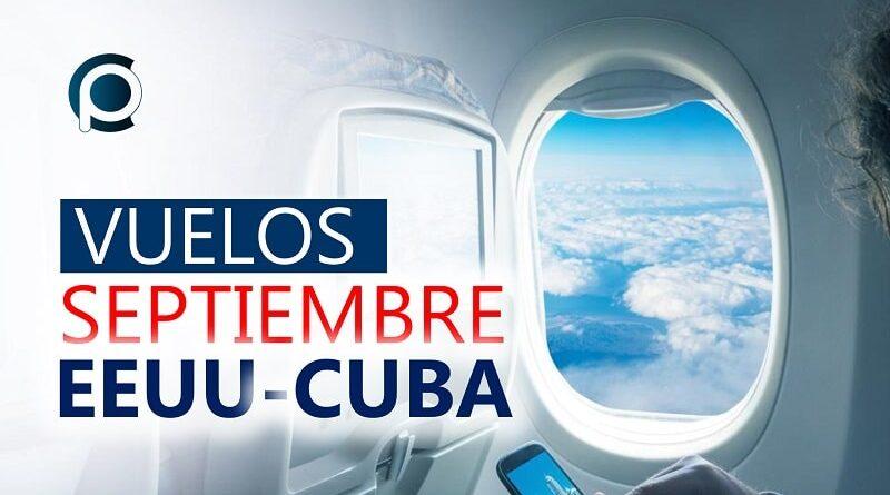 Vuelos entre EEUU y Cuba en septiembre